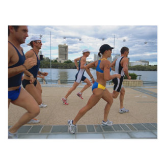 Triathloners Running 4 Postcard