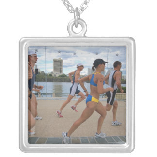 Triathloners Running 4 Silver Plated Necklace