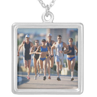 Triathloners Running 5 Silver Plated Necklace