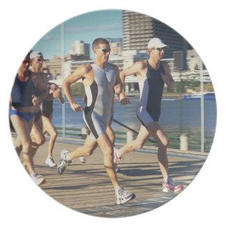 Triathloners Running Dinner Plates