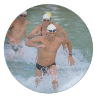 Triathloners Running out of Water 2 Party Plates