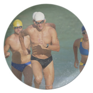 Triathloners Running out of Water 3 Plate