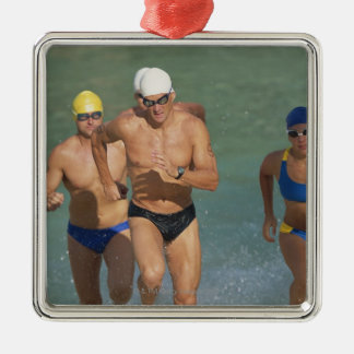 Triathloners Running out of Water 3 Silver-Colored Square Decoration