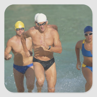 Triathloners Running out of Water 3 Square Sticker