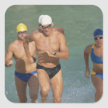 Triathloners Running out of Water 3 Square Stickers