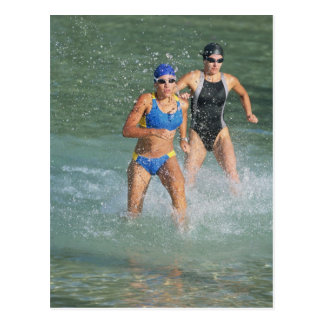 Triathloners Running out of Water Postcard