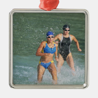 Triathloners Running out of Water Silver-Colored Square Decoration