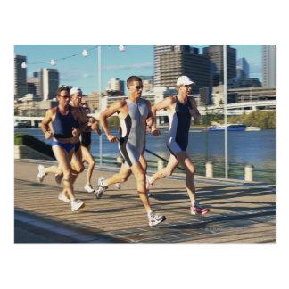 Triathloners Running Postcard