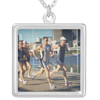 Triathloners Running Silver Plated Necklace