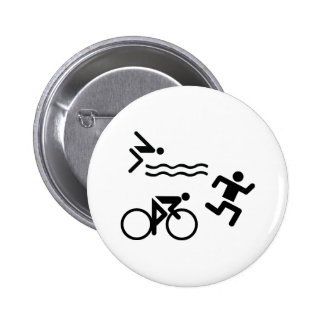 Triatholon - running swimming cycling 6 cm round badge