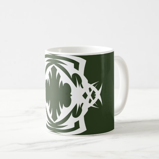 Tribal 16 white to over green coffee mug