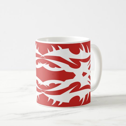 Tribal 17 white to over network coffee mug