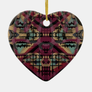 Tribal abstract art gifts ceramic heart decoration