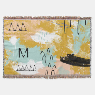 Tribal Abstract Landscape Art Mint Blush Gold Name Throw Blanket