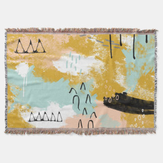 Tribal Abstract Landscape Art Mint Blush Gold Throw Blanket