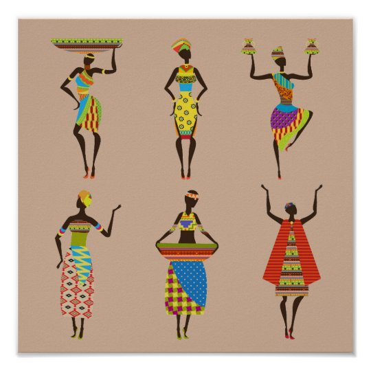Tribal African ladies in colourful traditional Poster