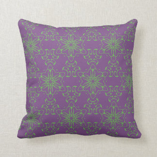 Tribal Alien Purple Green Pattern Throw Pillowr Cushion
