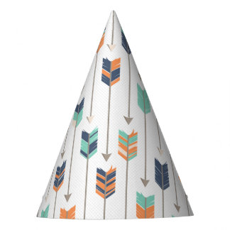 Tribal Arrow Blue Orange Green Birthday Party Hat