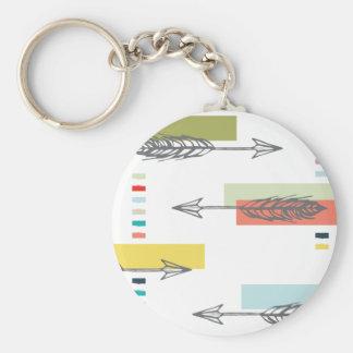 Tribal Arrow Geometric Modern Art Colorful Basic Round Button Key Ring