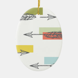Tribal Arrow Geometric Modern Art Colorful Ceramic Oval Decoration