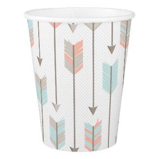 Tribal Arrow Grey Pink Blue Paper Cups