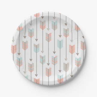 Tribal Arrow Grey Pink Blue Paper Plates