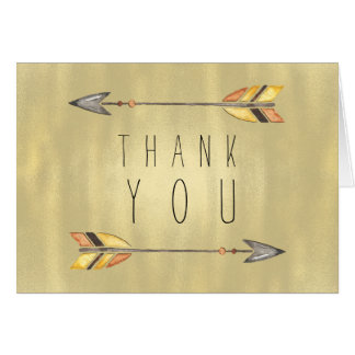 Tribal Arrow Indian Orange Gold Thank You Card