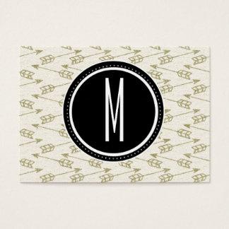 Tribal Arrows | Black Monogram Business Card