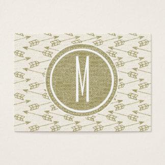 Tribal Arrows | Gold Glitter Monogram Business Card