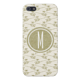 Tribal Arrows | Gold Glitter Monogram iPhone 5 Cases