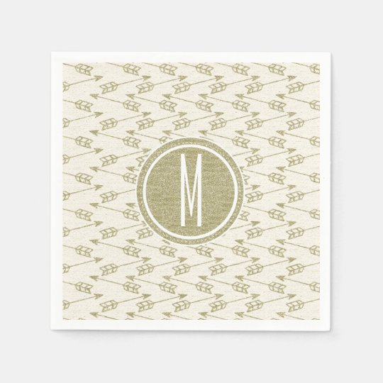 Tribal Arrows | Gold Glitter Monogram Paper Napkin