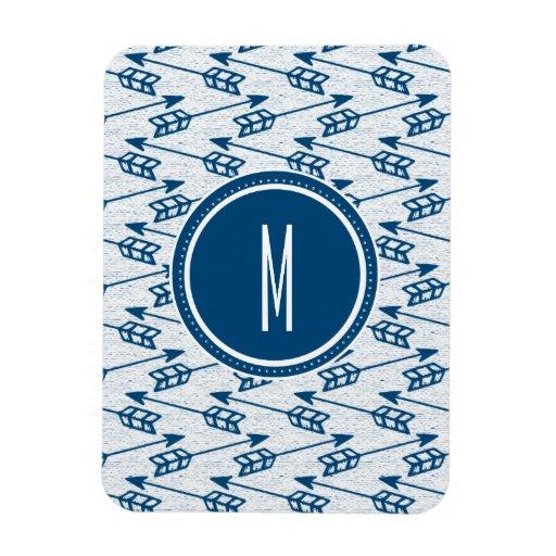 Tribal Arrows | Navy Monogram Flexible Magnets