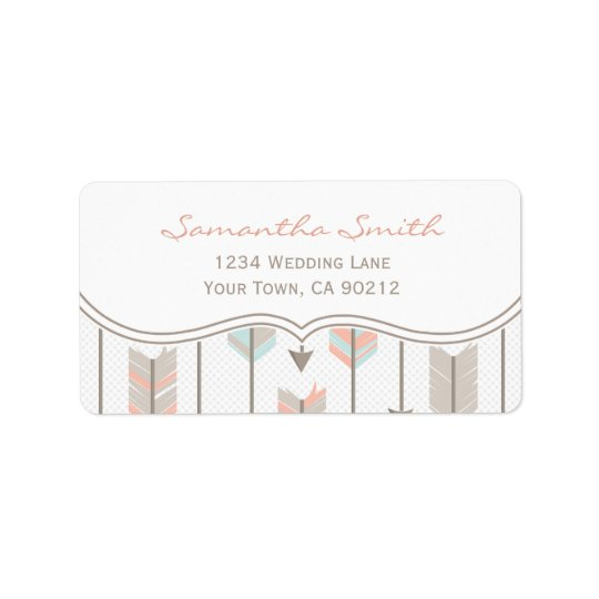 Tribal Arrows Pink Blue and Grey Address Label
