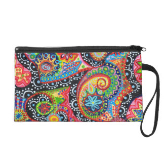 Tribal Art Bag - Clutch Cosmetic Accessory Wristlets