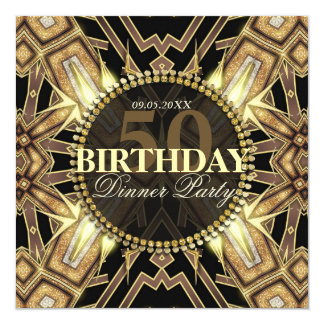 Tribal Art Deco Gold Glow 50th Birthday Invitation