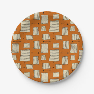 Tribal Art Pattern Arrows Shapes Tan Black Pumpkin Paper Plate