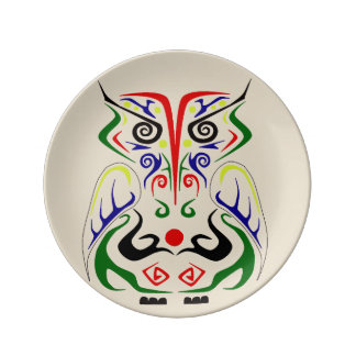 TRIBAL ART TATTOO OWL PRINT ON PORCELAIN PLATE