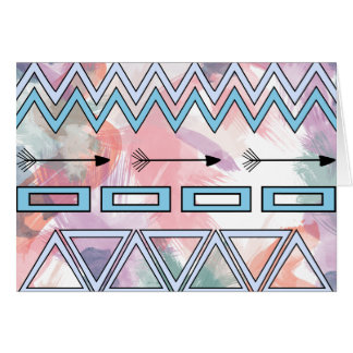 Tribal Aztec Geometric Art Watercolors Background Card