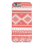 Tribal Aztec Lace Pattern (coral) Barely There iPhone 6 Case