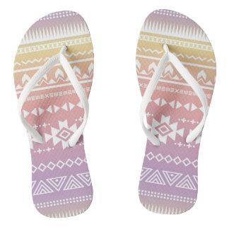Tribal aztec ombre pattern flip flops