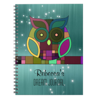 Tribal Aztec Owl on Teal (Faux) Brushed Metal Notebook