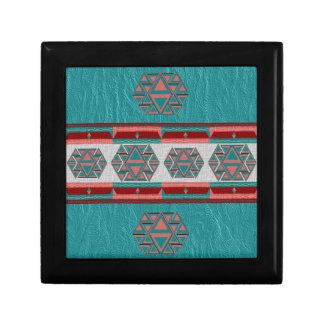 Tribal Aztec Pattern Wood Gift Box w/ Tile