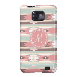 Tribal Aztec Pink Monogram Pattern Samsung Galaxy SII Case