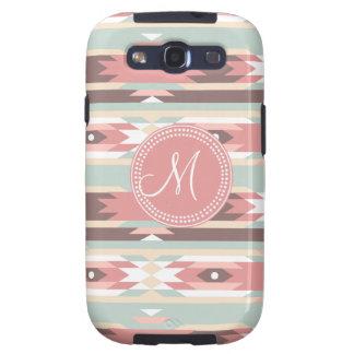 Tribal Aztec Pink Monogram Pattern Samsung Galaxy SIII Cases