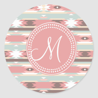 Tribal Aztec Pink Monogram Pattern Classic Round Sticker