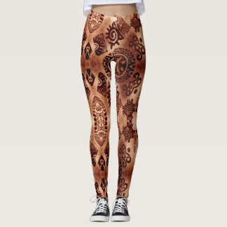 Tribal Aztec Pyramid Sun design Leggings