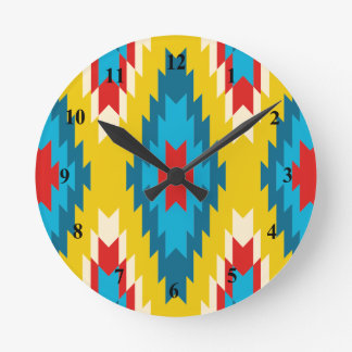 tribal Aztec Yellow Red Blue Round Clock