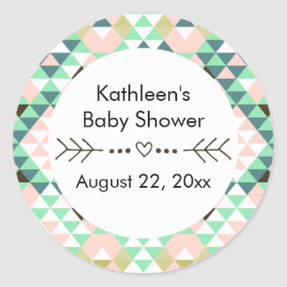 Tribal Baby Shower Gender Reveal Favor Classic Round Sticker