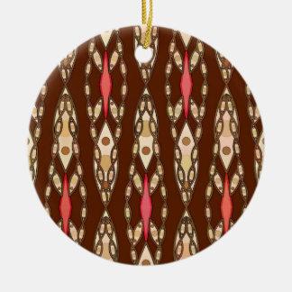Tribal Batik - Brown, Tan and Coral Round Ceramic Decoration