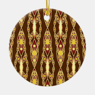 Tribal Batik - Chocolate Brown and Beige Round Ceramic Decoration